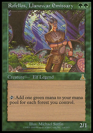 Rofellos, Llanowar Emissary (2, GG) 2/1 Legendary Creature  — Elf Druid {T}: Add {G} to your mana pool for each Forest you control. Urza's Destiny: Rare