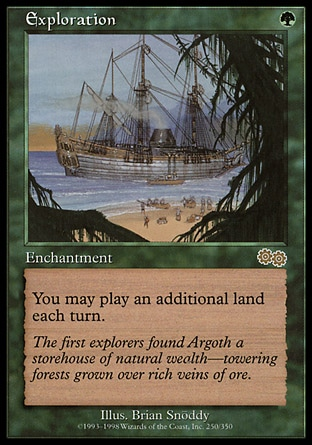 Exploration (1, G) 0/0 Enchantment You may play an additional land on each of your turns. Urza's Saga: Rare