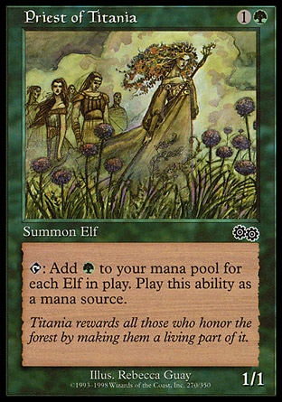 Priest of Titania (2, 1G) 1/1 Creature  — Elf Druid {T}: Add {G} to your mana pool for each Elf on the battlefield. Urza's Saga: Common