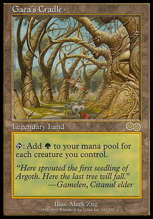 Gaea's Cradle (0, ) 0/0\nLegendary Land\n{T}: Add {G} to your mana pool for each creature you control.\nUrza's Saga: Rare\n\n