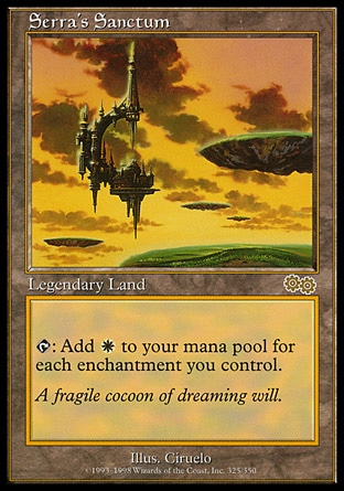Serra's Sanctum (0, ) 0/0 Legendary Land {T}: Add {W} to your mana pool for each enchantment you control. Urza's Saga: Rare