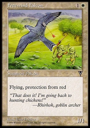 Freewind Falcon (2, 1W) 1/1\nCreature  — Bird\nFlying, protection from red\nVisions: Common\n\n