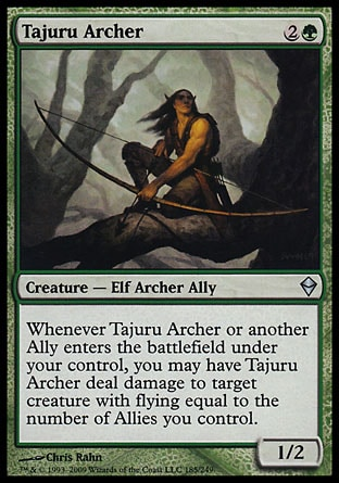 Tajuru Archer (3, 2G) 1/2\nCreature  — Elf Archer Ally\nWhenever Tajuru Archer or another Ally enters the battlefield under your control, you may have Tajuru Archer deal damage to target creature with flying equal to the number of Allies you control.\nZendikar: Uncommon\n\n