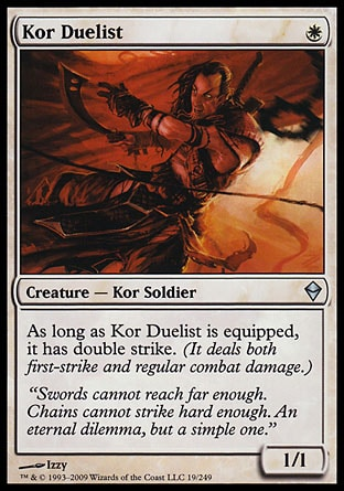 As long as kor duelist is equipped it has double strike it deals